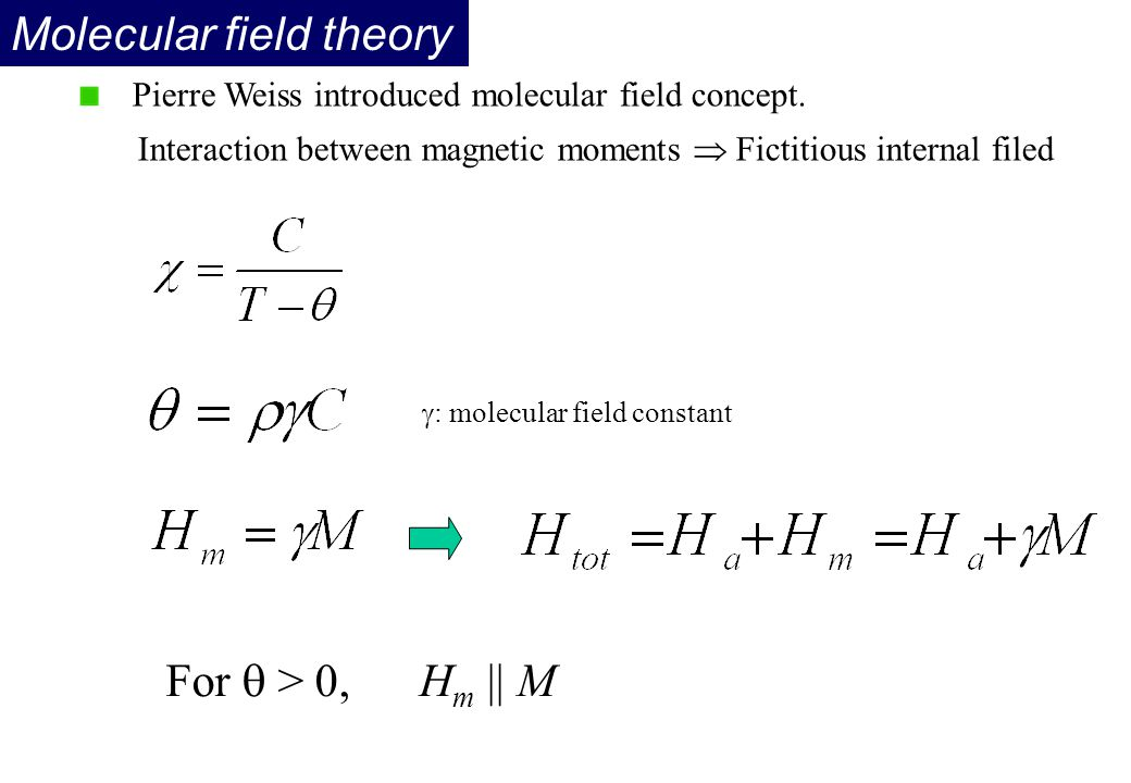 Molecular field theory Pierre Weiss introduced molecular field concept. Interaction between magnetic moments  Fictitious internal filed For  > 0, H