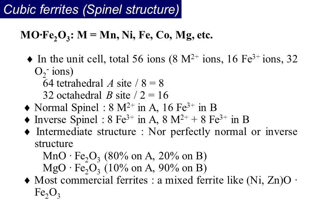 Cubic ferrites (Spinel structure) MO·Fe 2 O 3 : M = Mn, Ni, Fe, Co, Mg, etc.  In the unit cell, total 56 ions (8 M 2+ ions, 16 Fe 3+ ions, 32 O 2 - i