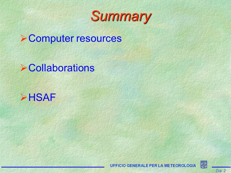 Summary  Computer resources  Collaborations  HSAF Dia: 2 UFFICIO GENERALE PER LA METEOROLOGIA