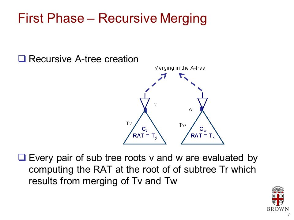 7 First Phase – Recursive Merging  Recursive A-tree creation  Every pair of sub tree roots v and w are evaluated by computing the RAT at the root of