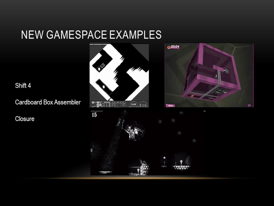 NEW GAMESPACE EXAMPLES Shift 4 Cardboard Box Assembler Closure