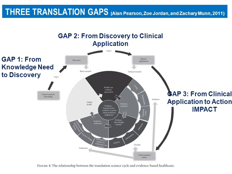 THREE TRANSLATION GAPS (Alan Pearson, Zoe Jordan, and Zachary Munn, 2011) GAP 1: From Knowledge Need to Discovery GAP 2: From Discovery to Clinical Application GAP 3: From Clinical Application to Action IMPACT