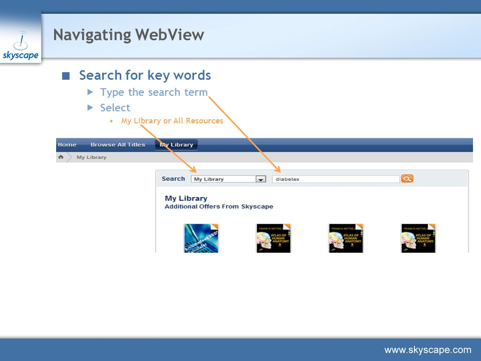Navigating WebView Search for key words  Type the search term  Select My Library or All Resources