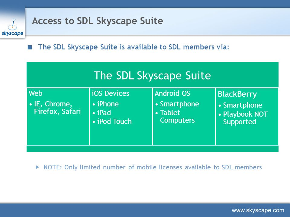 Access to SDL Skyscape Suite  NOTE: Only limited number of mobile licenses available to SDL members The SDL Skyscape Suite Web IE, Chrome, Firefox, Safari iOS Devices iPhone iPad iPod Touch Android OS Smartphone Tablet Computers BlackBerry Smartphone Playbook NOT Supported The SDL Skyscape Suite is available to SDL members via: