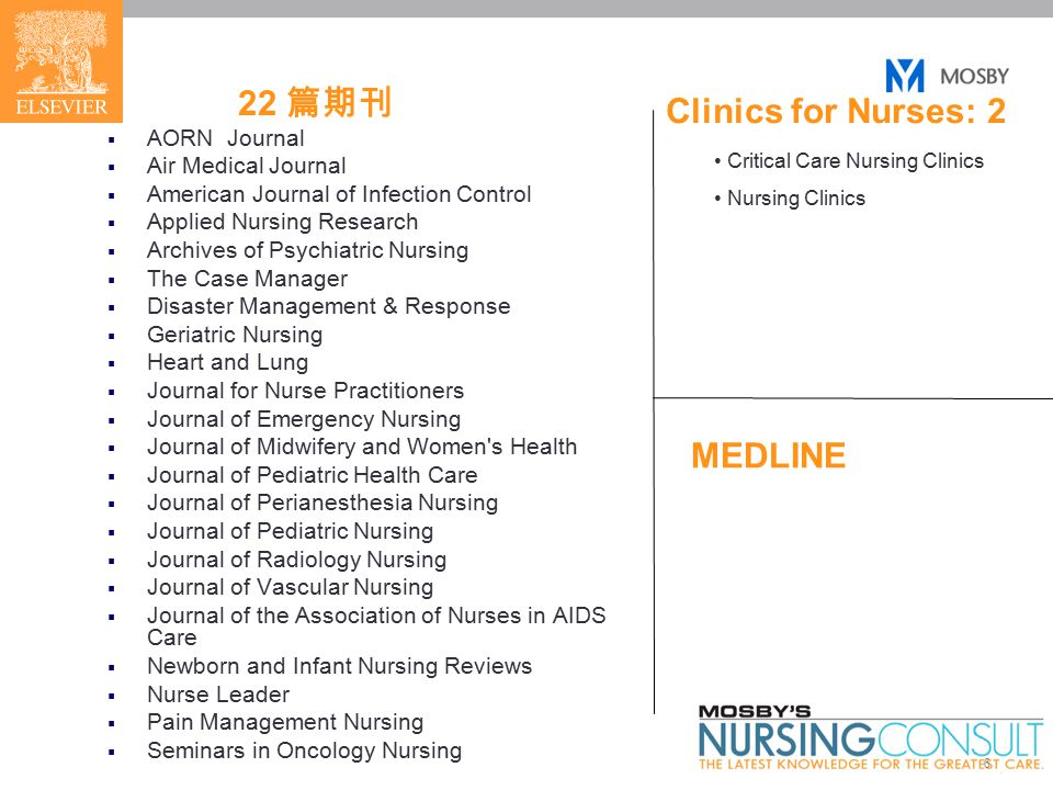 6 22 篇期刊  AORN Journal  Air Medical Journal  American Journal of Infection Control  Applied Nursing Research  Archives of Psychiatric Nursing  The Case Manager  Disaster Management & Response  Geriatric Nursing  Heart and Lung  Journal for Nurse Practitioners  Journal of Emergency Nursing  Journal of Midwifery and Women s Health  Journal of Pediatric Health Care  Journal of Perianesthesia Nursing  Journal of Pediatric Nursing  Journal of Radiology Nursing  Journal of Vascular Nursing  Journal of the Association of Nurses in AIDS Care  Newborn and Infant Nursing Reviews  Nurse Leader  Pain Management Nursing  Seminars in Oncology Nursing Critical Care Nursing Clinics Nursing Clinics Clinics for Nurses: 2 MEDLINE