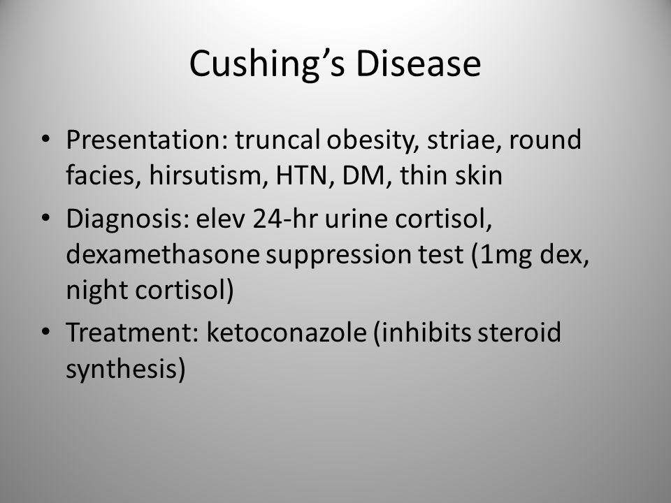 TSH-secreting adenoma Presentation: goiter, thyrotoxicosis, visual impairment Diagnosis: elev TSH, T3, T4 Treatment: surgery, octreotide