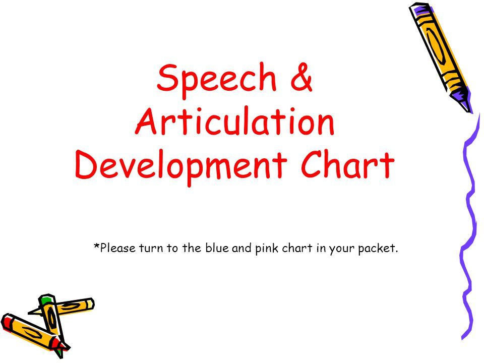 Speech & Articulation Development Chart In the chart below, each solid bar indicates when children generally MASTER the specified sounds.