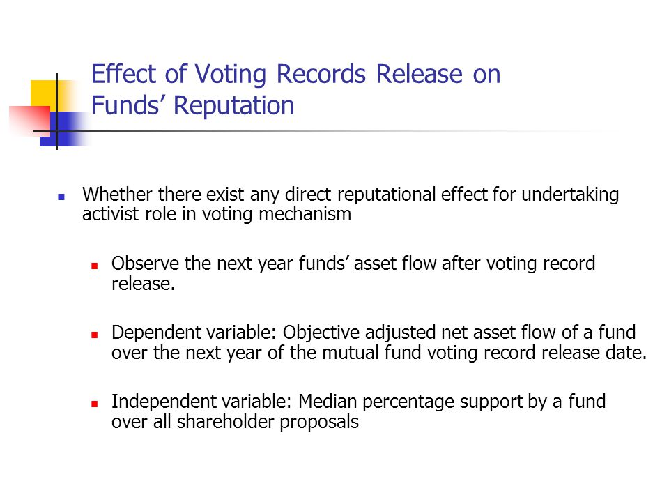 Effect of Voting Records Release on Funds' Reputation Whether there exist any direct reputational effect for undertaking activist role in voting mechanism Observe the next year funds' asset flow after voting record release.