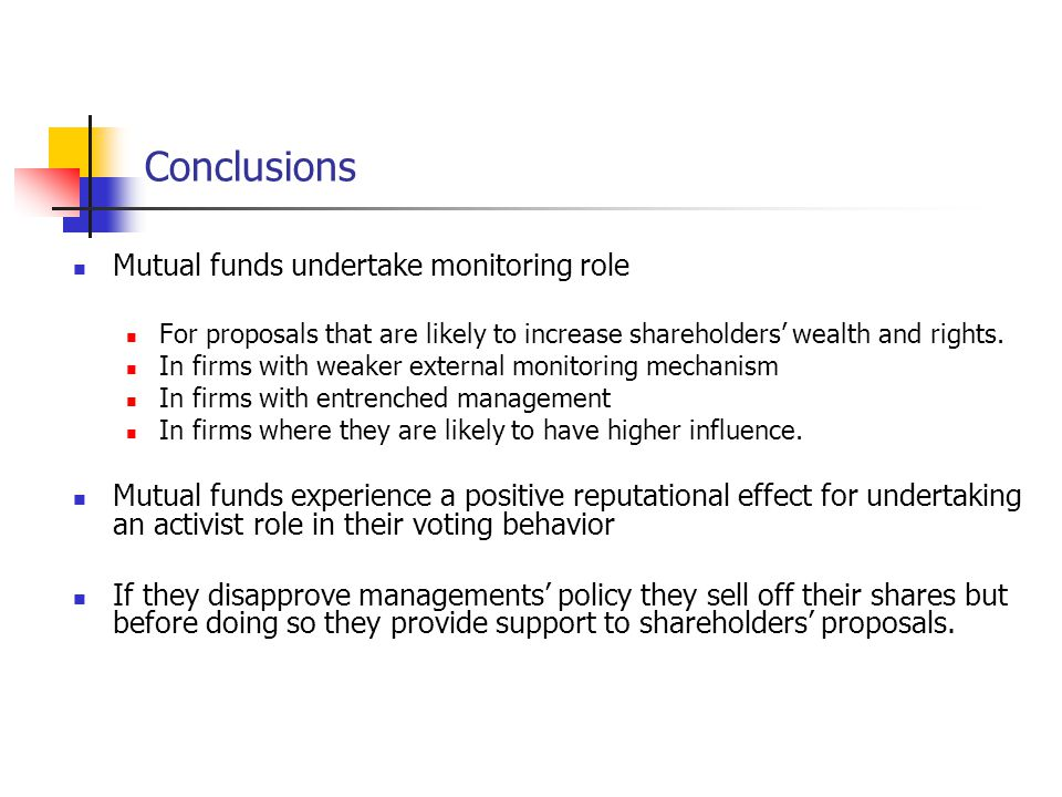 Conclusions Mutual funds undertake monitoring role For proposals that are likely to increase shareholders' wealth and rights.