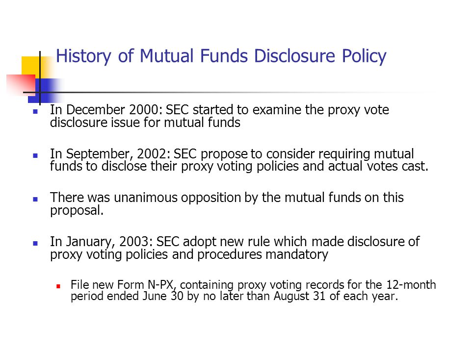Literature: Mutual Funds' Voting Behavior Rothberg and Lilien (2005): analysis of the largest 10 fund families' proxy voting policies.