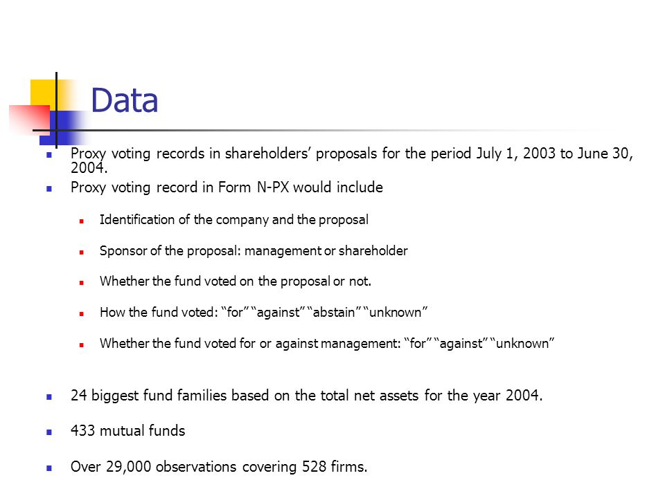 Data Proxy voting records in shareholders' proposals for the period July 1, 2003 to June 30, 2004.