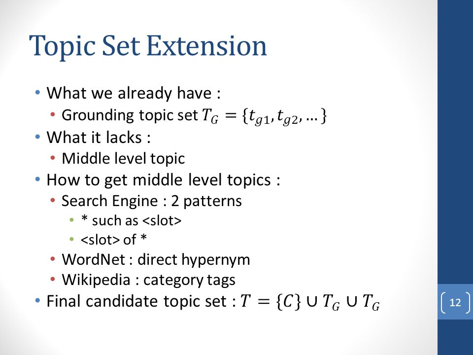 Topic Set Extension 12