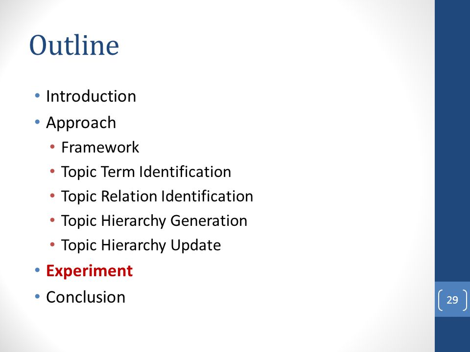 Outline Introduction Approach Framework Topic Term Identification Topic Relation Identification Topic Hierarchy Generation Topic Hierarchy Update Expe