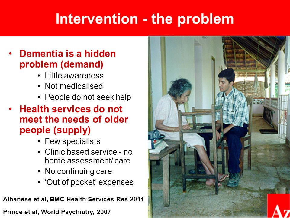 Intervention - the problem Dementia is a hidden problem (demand) Little awareness Not medicalised People do not seek help Health services do not meet