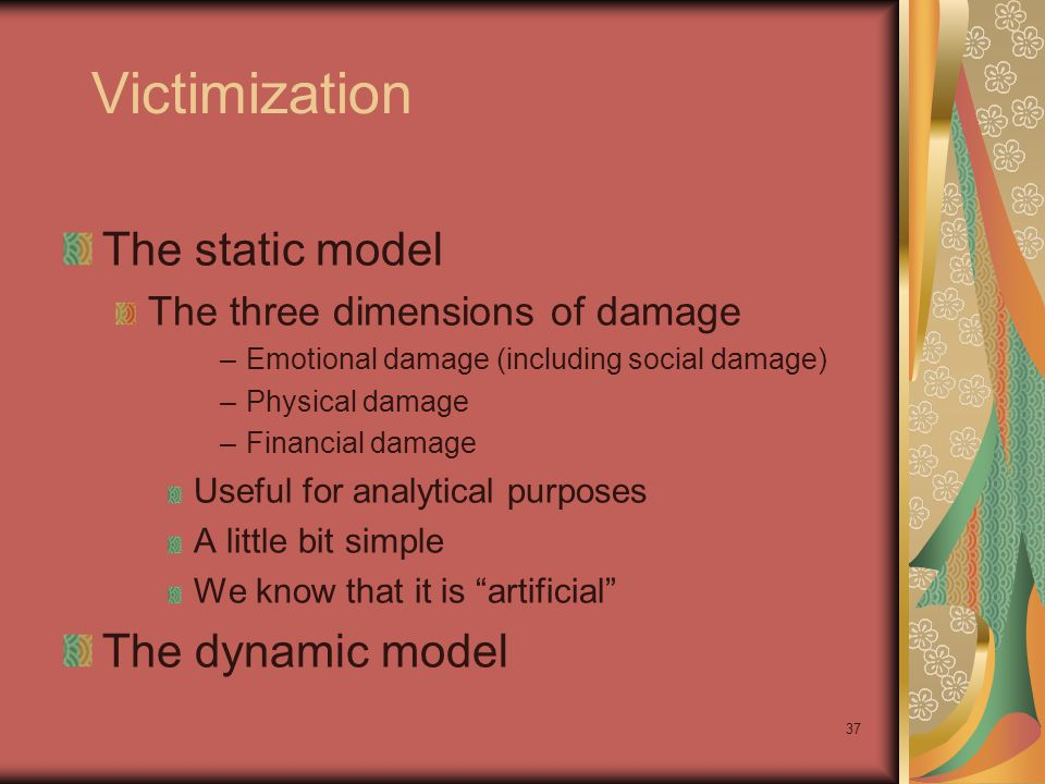 Victimization The static model The three dimensions of damage –Emotional damage (including social damage) –Physical damage –Financial damage Useful for analytical purposes A little bit simple We know that it is artificial The dynamic model 37