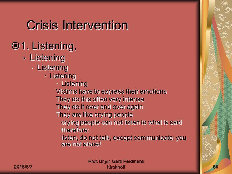 2015/5/7 Prof. Dr.jur. Gerd Ferdinand Kirchhoff 56 Crisis Intervention  1.