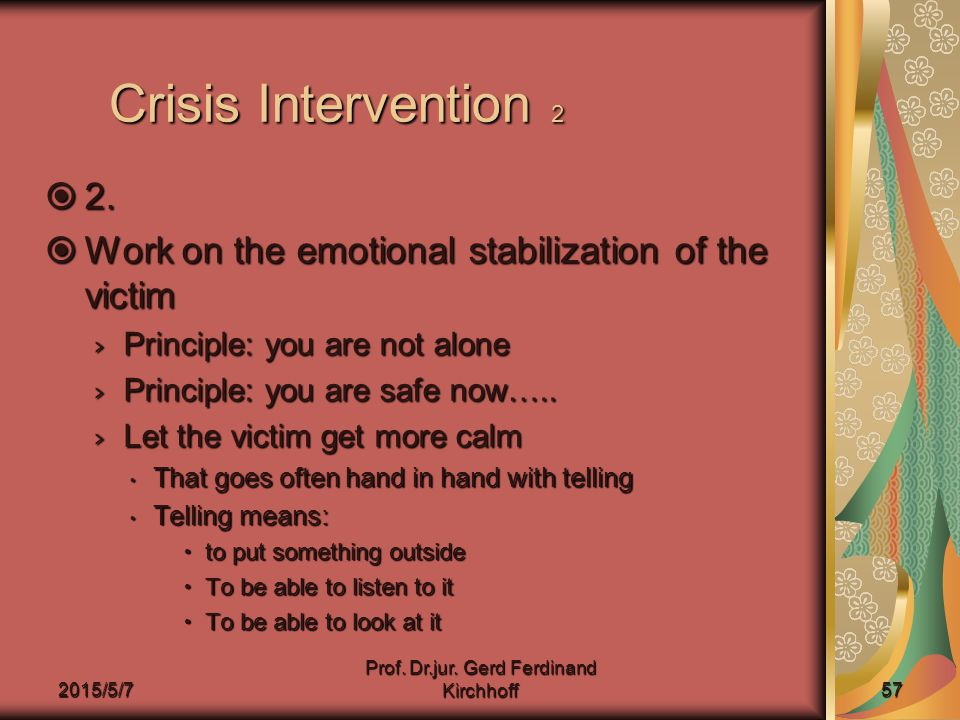 2015/5/7 Prof. Dr.jur. Gerd Ferdinand Kirchhoff 57 Crisis Intervention 2  2.