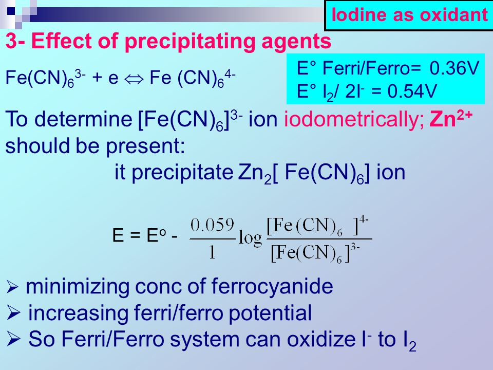 Fe(CN) 6 3- + e  Fe (CN) 6 4-  minimizing conc of ferrocyanide  increasing ferri/ferro potential  So Ferri/Ferro system can oxidize I - to I 2 E = E o - 3- Effect of precipitating agents E° Ferri/Ferro= 0.36V E° I 2 / 2I - = 0.54V To determine [Fe(CN) 6 ] 3- ion iodometrically; Zn 2+ should be present: it precipitate Zn 2 [ Fe(CN) 6 ] ion Iodine as oxidant