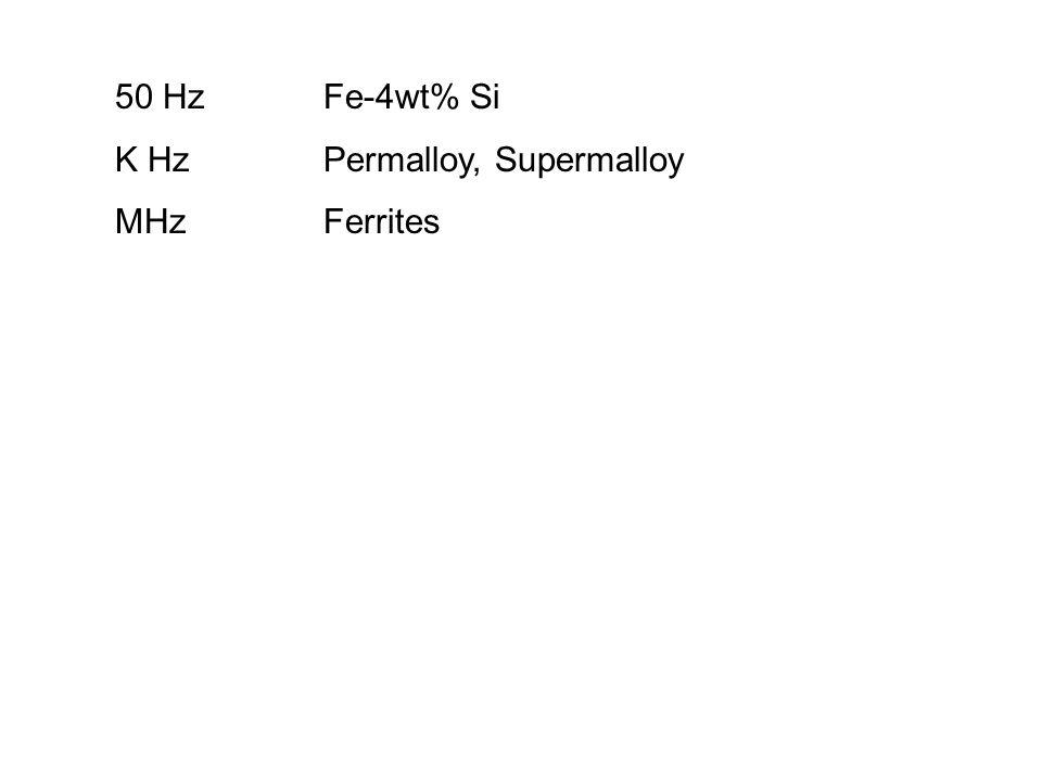50 HzFe-4wt% Si K HzPermalloy, Supermalloy MHzFerrites