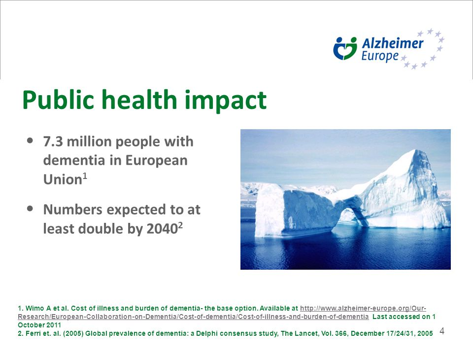4 Public health impact 7.3 million people with dementia in European Union 1 Numbers expected to at least double by 2040 2 1.