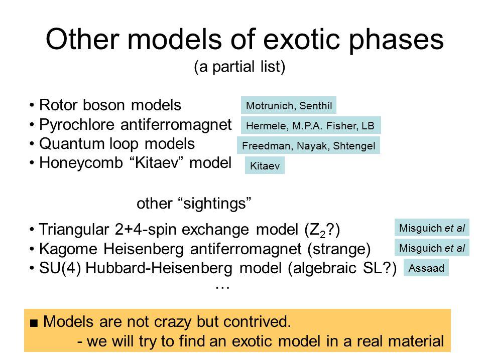 "Other models of exotic phases Rotor boson models Pyrochlore antiferromagnet Quantum loop models Honeycomb ""Kitaev"" model Motrunich, Senthil Hermele, M"