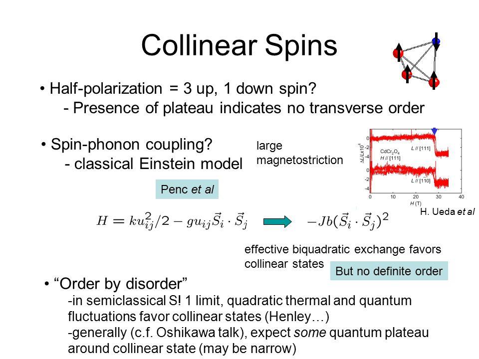 Collinear Spins Half-polarization = 3 up, 1 down spin? - Presence of plateau indicates no transverse order Penc et al effective biquadratic exchange f