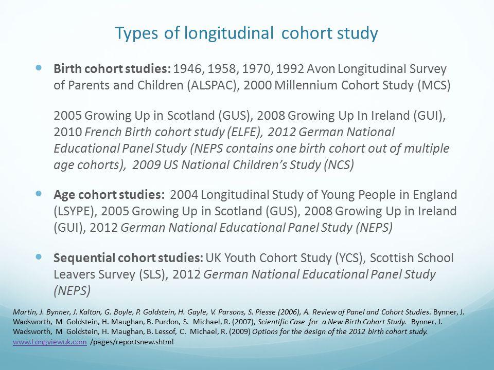 Types of longitudinal cohort study Birth cohort studies: 1946, 1958, 1970, 1992 Avon Longitudinal Survey of Parents and Children (ALSPAC), 2000 Millen