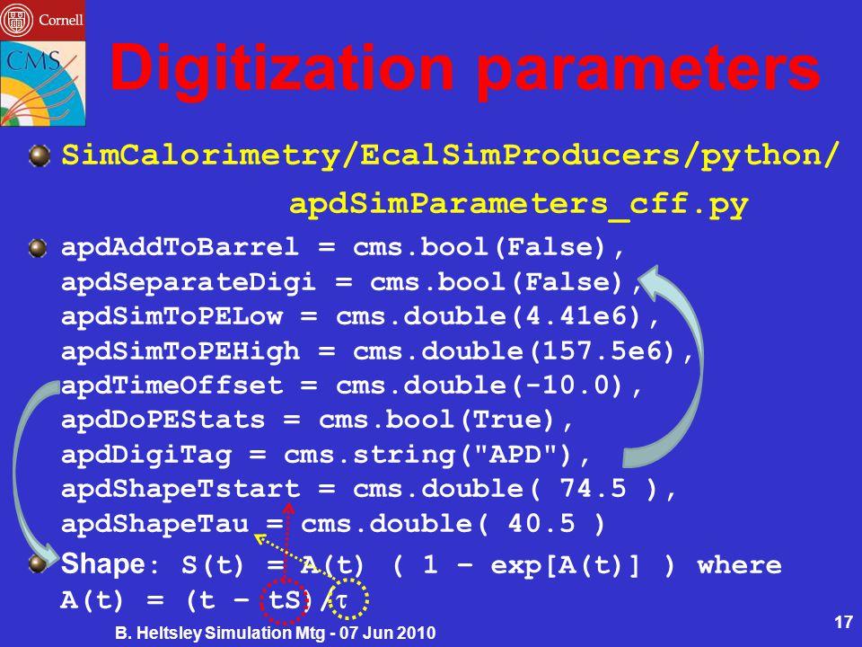 Digitization parameters SimCalorimetry/EcalSimProducers/python/ apdSimParameters_cff.py apdAddToBarrel = cms.bool(False), apdSeparateDigi = cms.bool(False), apdSimToPELow = cms.double(4.41e6), apdSimToPEHigh = cms.double(157.5e6), apdTimeOffset = cms.double(-10.0), apdDoPEStats = cms.bool(True), apdDigiTag = cms.string( APD ), apdShapeTstart = cms.double( 74.5 ), apdShapeTau = cms.double( 40.5 ) Shape : S(t) = A(t) ( 1 – exp[A(t)] ) where A(t) = (t – tS)/  B.