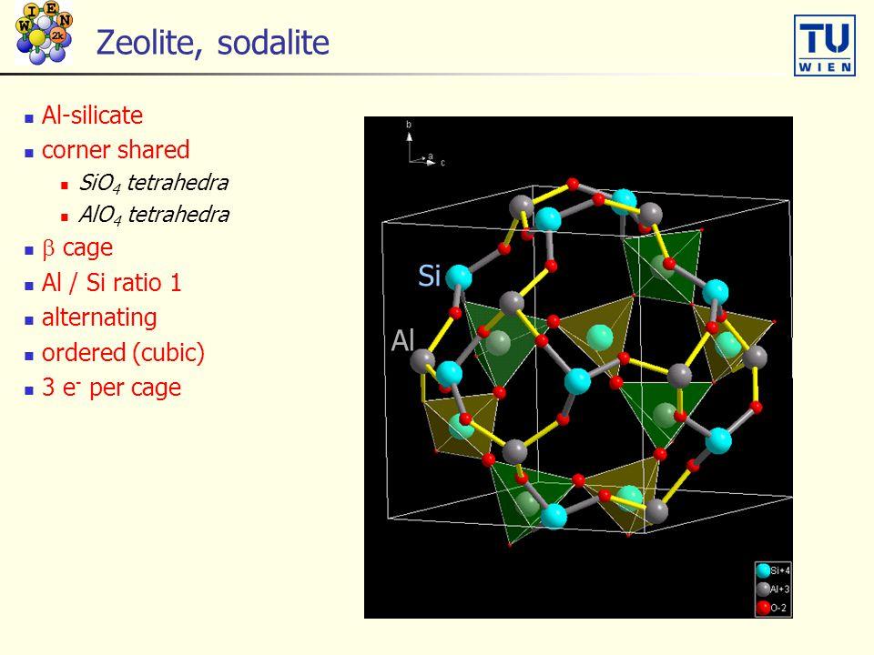 Zeolite, sodalite Al-silicate corner shared SiO 4 tetrahedra AlO 4 tetrahedra  cage Al / Si ratio 1 alternating ordered (cubic) 3 e - per cage Si Al