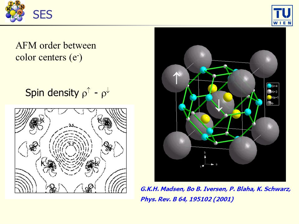SES   AFM order between color centers (e - ) G.K.H. Madsen, Bo B. Iversen, P. Blaha, K. Schwarz, Phys. Rev. B 64, 195102 (2001) Spin density   - 
