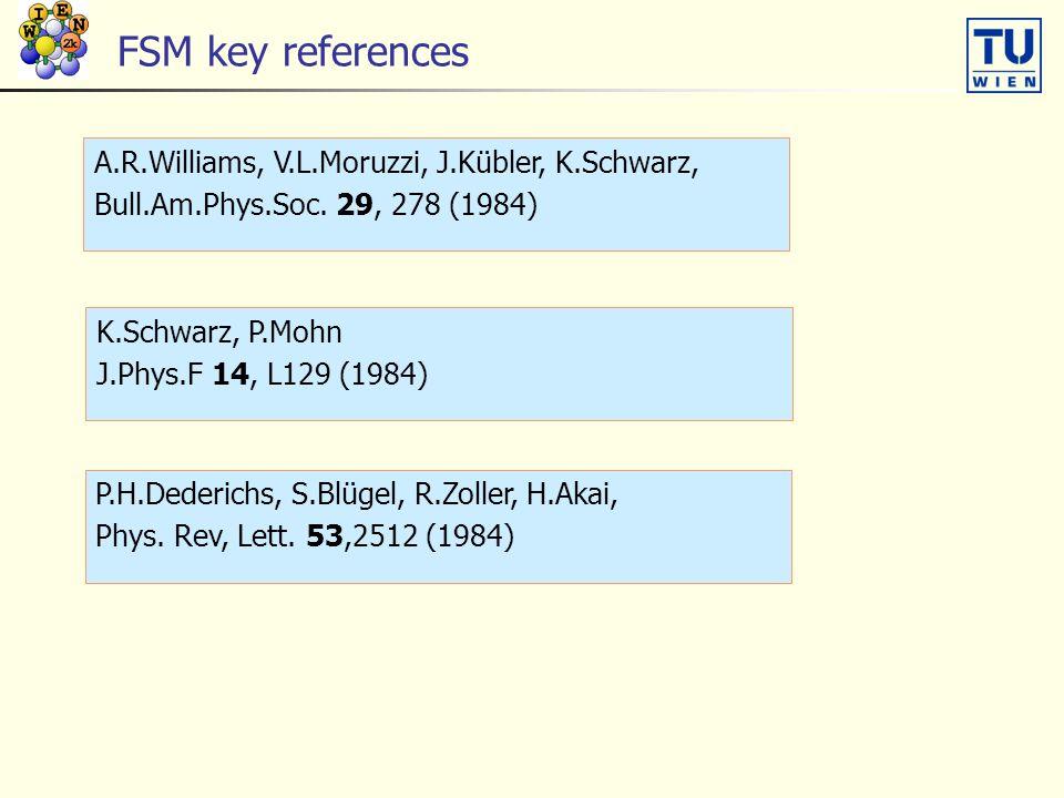 FSM key references A.R.Williams, V.L.Moruzzi, J.Kübler, K.Schwarz, Bull.Am.Phys.Soc. 29, 278 (1984) K.Schwarz, P.Mohn J.Phys.F 14, L129 (1984) P.H.Ded