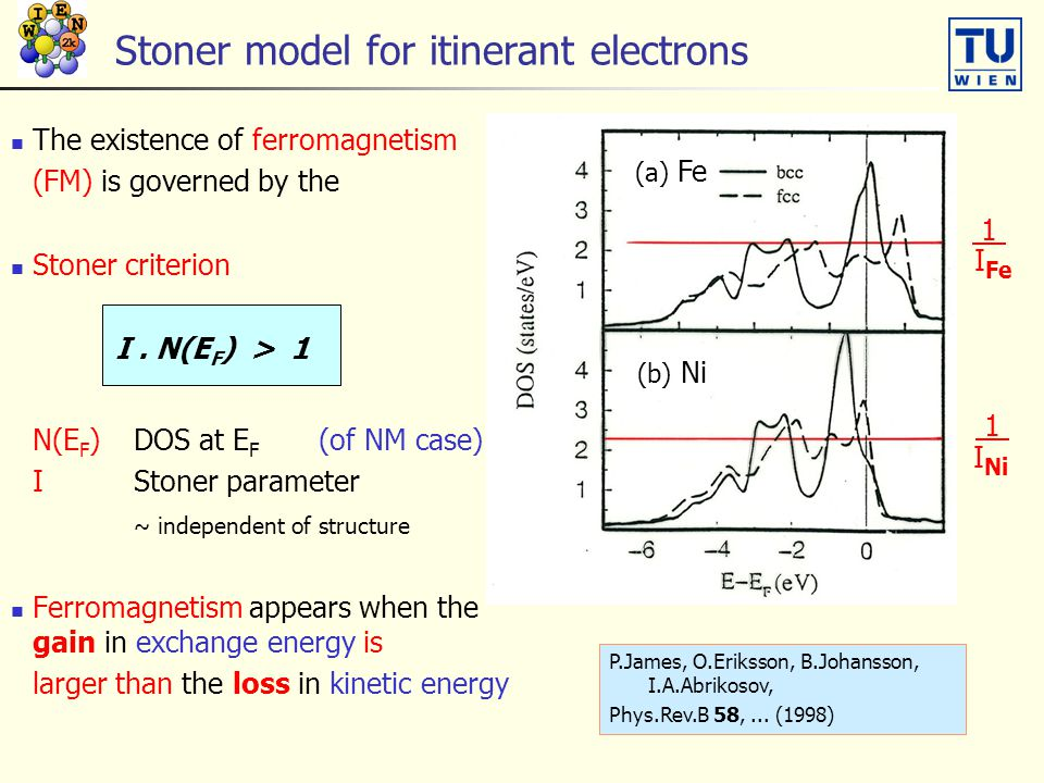 Stoner model for itinerant electrons The existence of ferromagnetism (FM) is governed by the Stoner criterion I.