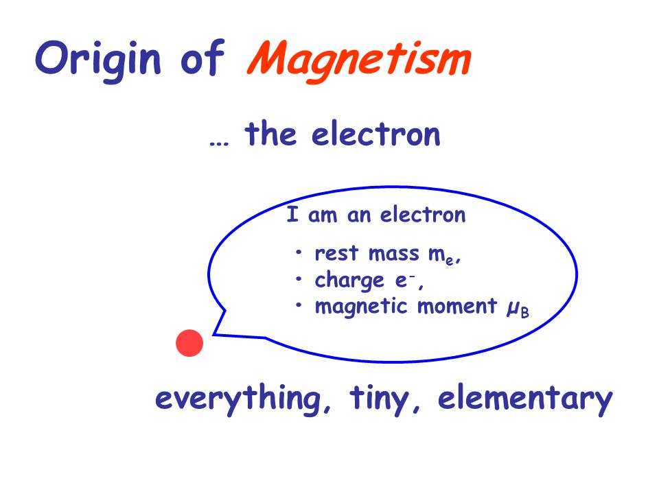 Origin of Magnetism e-e- « Orbital » magnetic moment« Intrinsic » magnetic moment due to the spin µ spin = g s x µ B x s ≈ µ B s = ± 1/2 µ orbital = g l x µ B x µ total = µ orbital + µ spin µ orbital µ spin