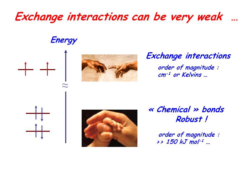 Exchange interactions can be very weak … order of magnitude : cm -1 or Kelvins … ≈ order of magnitude : >> 150 kJ mol -1 … « Chemical » bonds Robust !