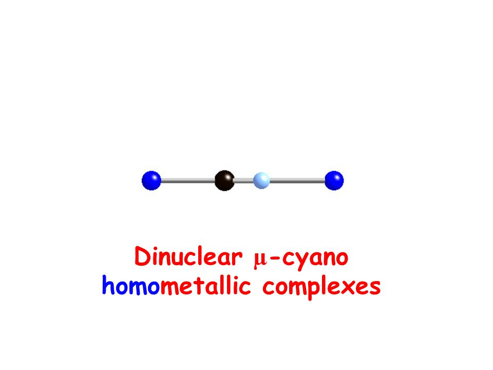 Models Compounds Cu(II)-CN-Cu(II) Compounds exp [Cu 2 (tren) 2 CN] 3+ [Cu 2 (tmpa) 2 CN] 3+ -160 -100 J/cm -1 Rodríguez-Fortea et al.