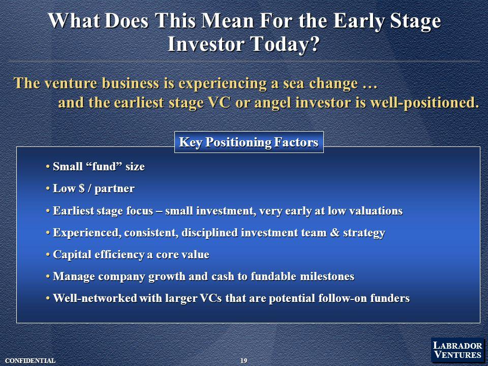 "L ABRADOR V ENTURES L ABRADOR V ENTURES CONFIDENTIAL19 Small ""fund"" size Small ""fund"" size Low $ / partner Low $ / partner Earliest stage focus – smal"