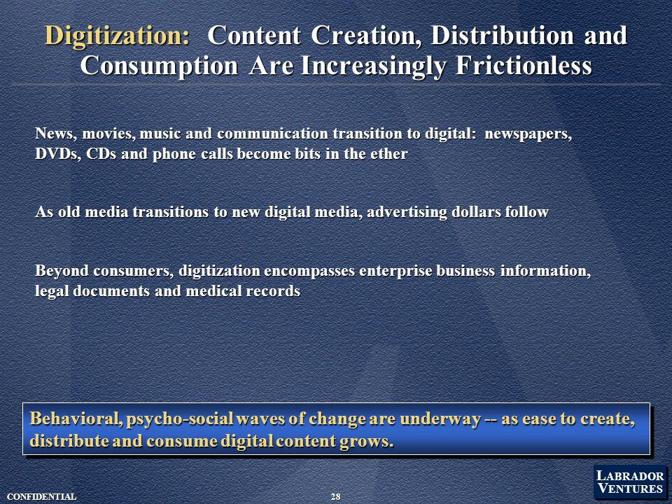 L ABRADOR V ENTURES L ABRADOR V ENTURES CONFIDENTIAL28 Digitization: Content Creation, Distribution and Consumption Are Increasingly Frictionless News