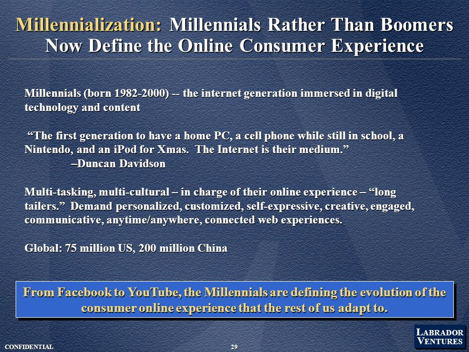 L ABRADOR V ENTURES L ABRADOR V ENTURES CONFIDENTIAL29 Millennialization: Millennials Rather Than Boomers Now Define the Online Consumer Experience Millennials (born 1982-2000) -- the internet generation immersed in digital technology and content The first generation to have a home PC, a cell phone while still in school, a Nintendo, and an iPod for Xmas.