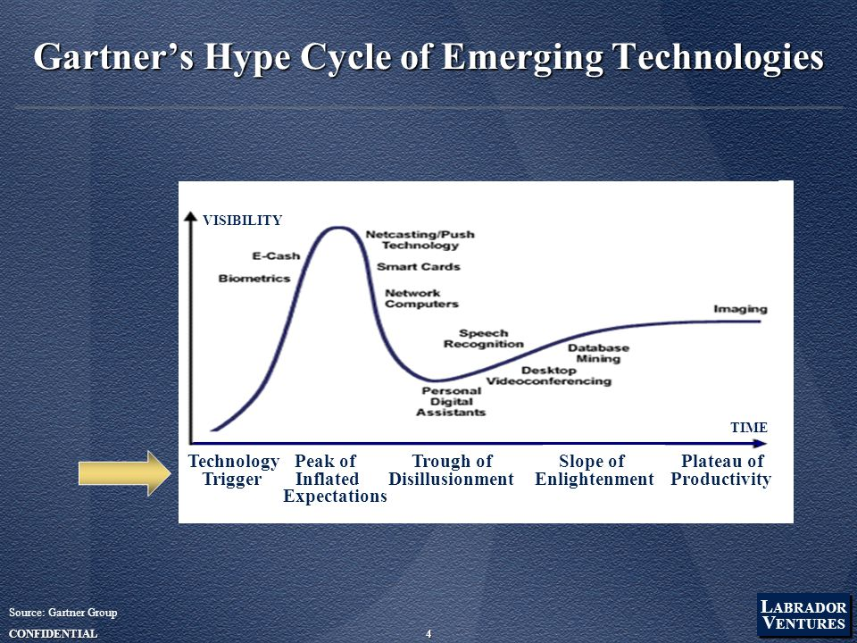 L ABRADOR V ENTURES L ABRADOR V ENTURES CONFIDENTIAL4 Gartner's Hype Cycle of Emerging Technologies Source: Gartner Group Technology Peak of Trough of Slope of Plateau of Trigger Inflated Disillusionment Enlightenment Productivity Expectations VISIBILITY TIME