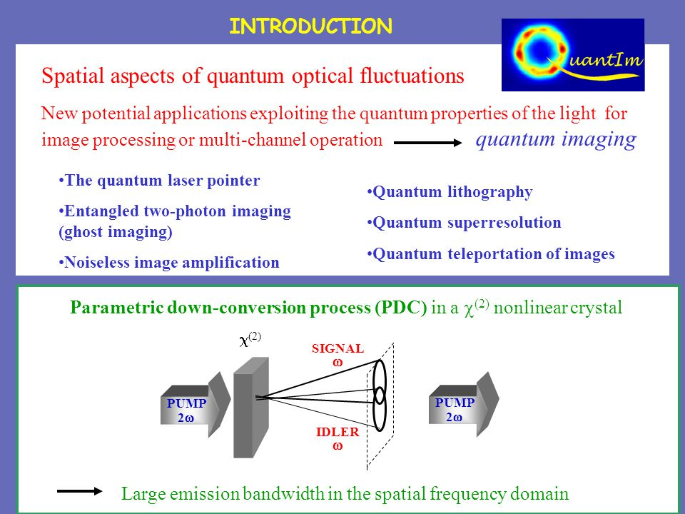 INTRODUCTION Large emission bandwidth in the spatial frequency domain Parametric down-conversion process (PDC) in a  (2) nonlinear crystal PUMP 2   (2) SIGNAL  IDLER  PUMP 2  Spatial aspects of quantum optical fluctuations New potential applications exploiting the quantum properties of the light for image processing or multi-channel operation quantum imaging The quantum laser pointer Entangled two-photon imaging (ghost imaging) Noiseless image amplification Quantum lithography Quantum superresolution Quantum teleportation of images