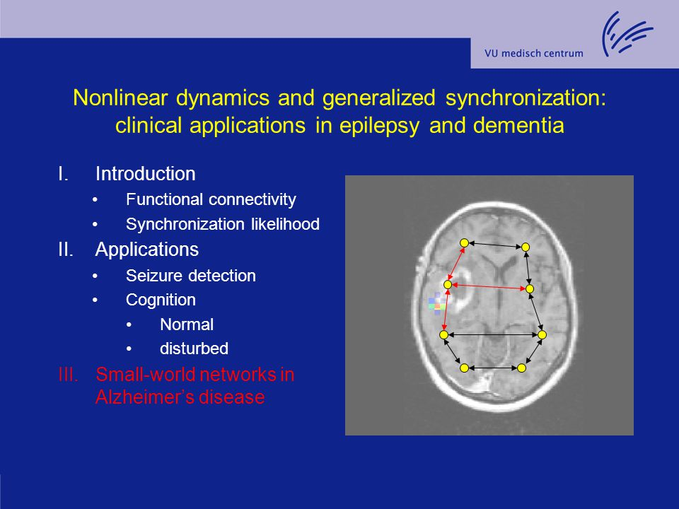 Nonlinear dynamics and generalized synchronization: clinical applications in epilepsy and dementia I.Introduction Functional connectivity Synchronizat