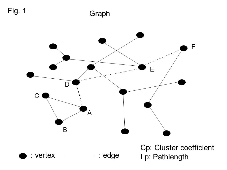 Fig. 1 A B C D E F : vertex: edge Graph Cp: Cluster coefficient Lp: Pathlength