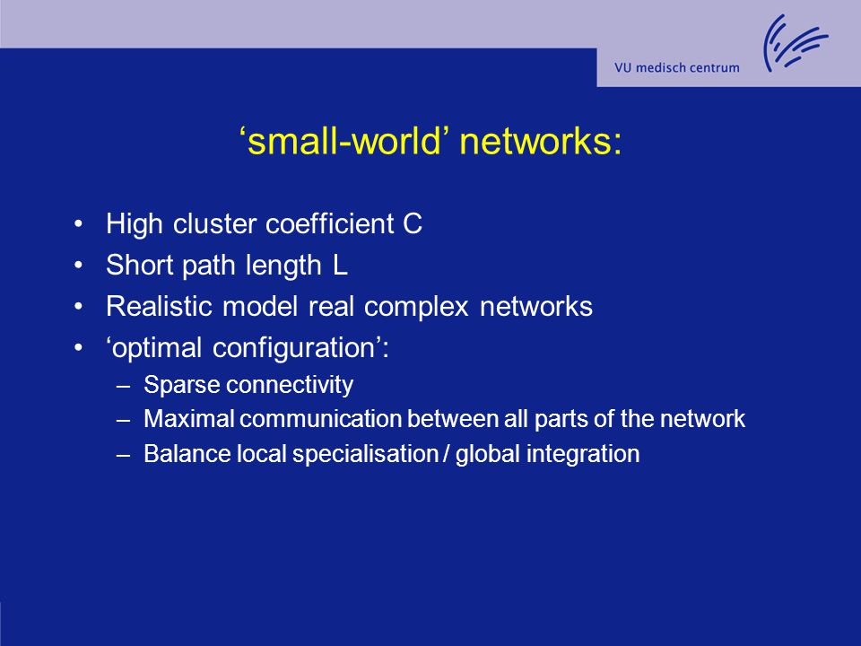 'small-world' networks: High cluster coefficient C Short path length L Realistic model real complex networks 'optimal configuration': –Sparse connecti