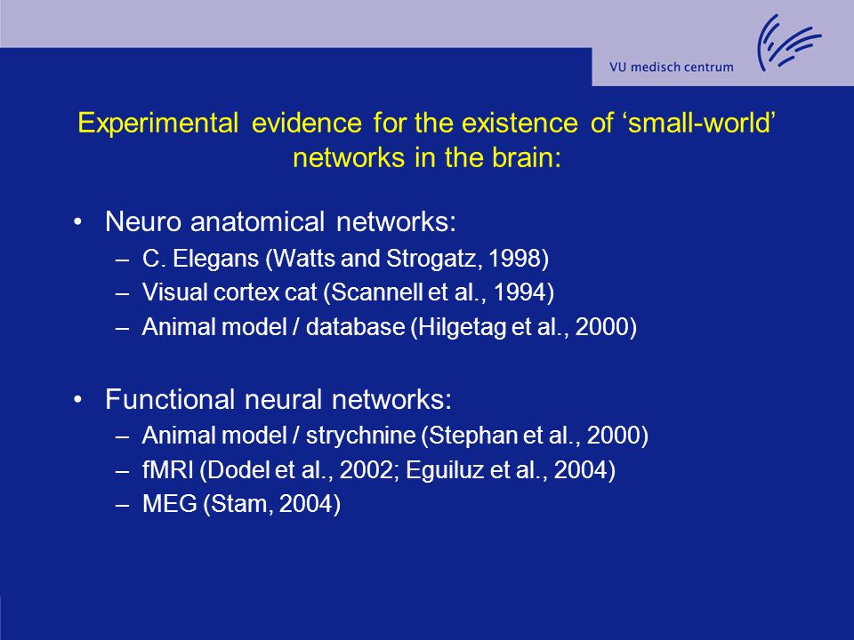 Experimental evidence for the existence of 'small-world' networks in the brain: Neuro anatomical networks: –C. Elegans (Watts and Strogatz, 1998) –Vis