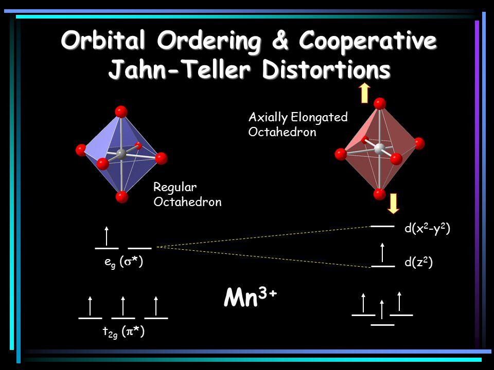 Orbital Ordering & Cooperative Jahn-Teller Distortions d(x 2 -y 2 ) d(z 2 ) Mn 3+ e g (  *) t 2g (  *) Regular Octahedron Axially Elongated Octahedron