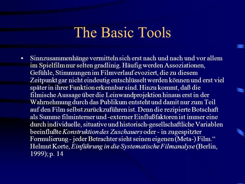 The Basic Tools Sinnzusammenhänge vermitteln sich erst nach und nach und vor allem im Spielfilm nur selten gradlinig.