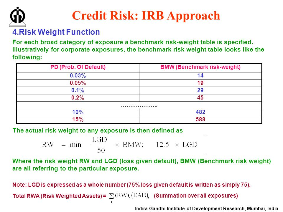 Indira Gandhi Institute of Development Research, Mumbai, India Credit Risk: IRB Approach 4.Risk Weight Function For each broad category of exposure a benchmark risk-weight table is specified.