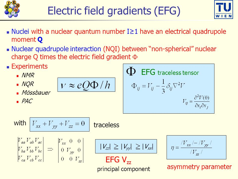 Electric field gradients (EFG) Nuclei with a nuclear quantum number I≥1 have an electrical quadrupole moment Q Nuclear quadrupole interaction (NQI) between non-spherical nuclear charge Q times the electric field gradient  Experiments NMR NQR Mössbauer PAC EFG traceless tensor with traceless |V zz | |V yy | |V xx | EFG V zz asymmetry parameter principal component