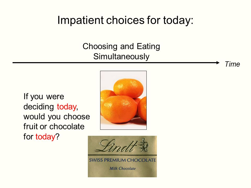 Time Inconsistent Preferences: Time Choosing and Eating Simultaneously 70% choose chocolate