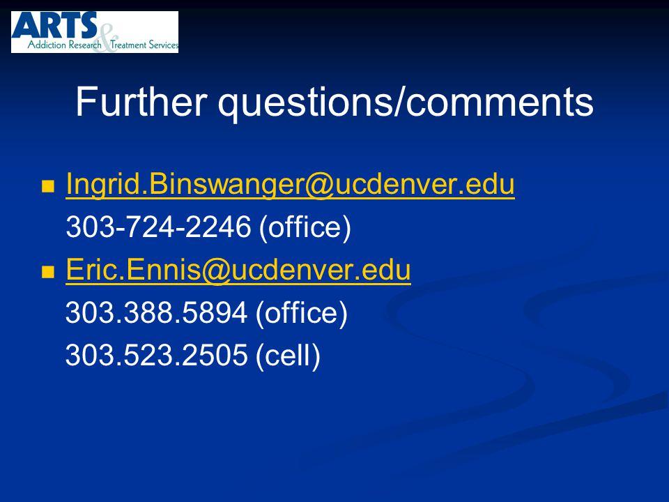 Further questions/comments Ingrid.Binswanger@ucdenver.edu 303-724-2246 (office) Eric.Ennis@ucdenver.edu 303.388.5894 (office) 303.523.2505 (cell)